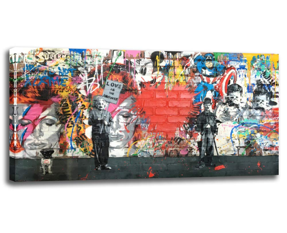Amazon Com Banksy Canvas Wall Art Abstract Graffiti Street