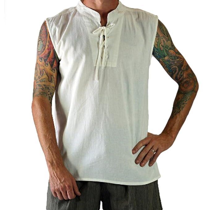 Hombres Sin Mangas de Cuello Blusa Camisas Vendajes Camisas de Trabajo Nuevos Hombres de Moda O