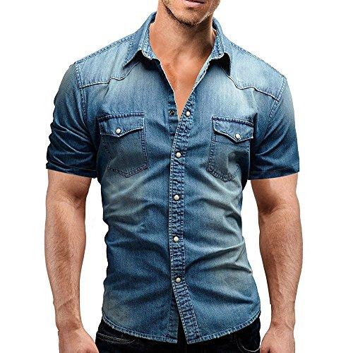 Realdo mens Denim Shirt,Casual Slim Fit Button Short Sleeve Tops Jeans Polo Shirt with Pocket Blue