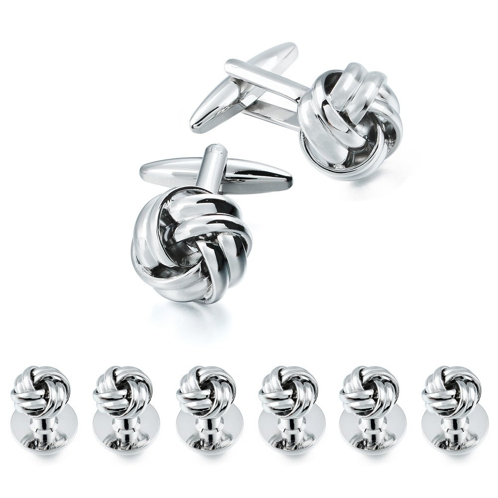 HAWSON Personalize Flower Knot Man Shirt Tuxedo 6 Studs and 2 Cufflinks Set Silver
