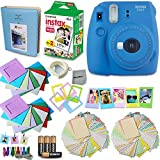 Fujifilm Instax Mini 9 Instant Camera (Cobalt Blue) + Accessory Kit, Includes: INSTAX Mini Instant Film (20 pack) + Assorted Sticker, Plastic & Paper Frames + Photo Album + 4 AA Batteries + MORE