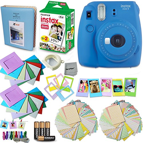Fujifilm Instax Mini 9 Instant Camera (Cobalt Blue) + Accessory Kit, Includes: INSTAX Mini Instant Film (20 pack) + Assorted Sticker, Plastic & Paper Frames + Photo Album + 4 AA Batteries + MORE by HeroFiber