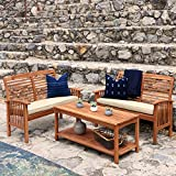 Solid Wood Garden Furniture WE Furniture Solid Acacia Wood 3-Piece Patio Chat Set