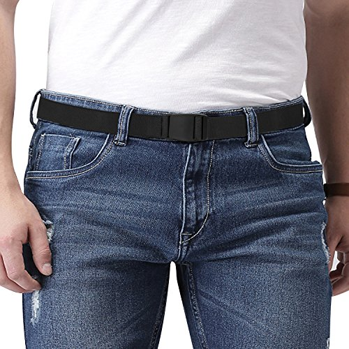 Men's Elastic Stretch Belt Invisible Casual Trousers Webbing Belt Plastic Buckle Black Fits 24