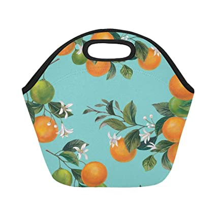 a16a7bf996dd Amazon.com: Insulated Neoprene Lunch Bag Lemon And Orange Clementine ...