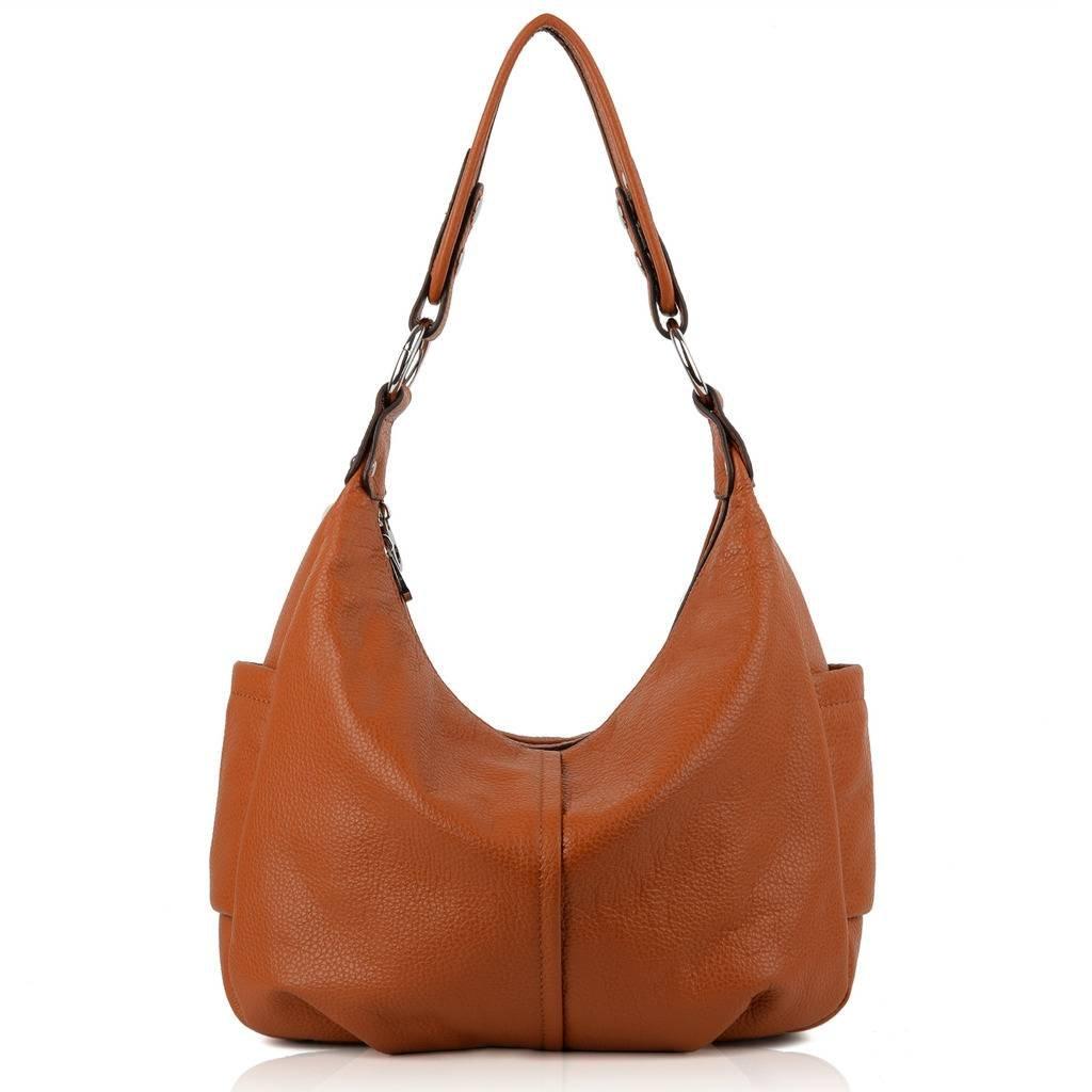 YALUXE Women's Double Zipper Soft Hobo Style Cowhide Leather Purse Shoulder Bag Brown