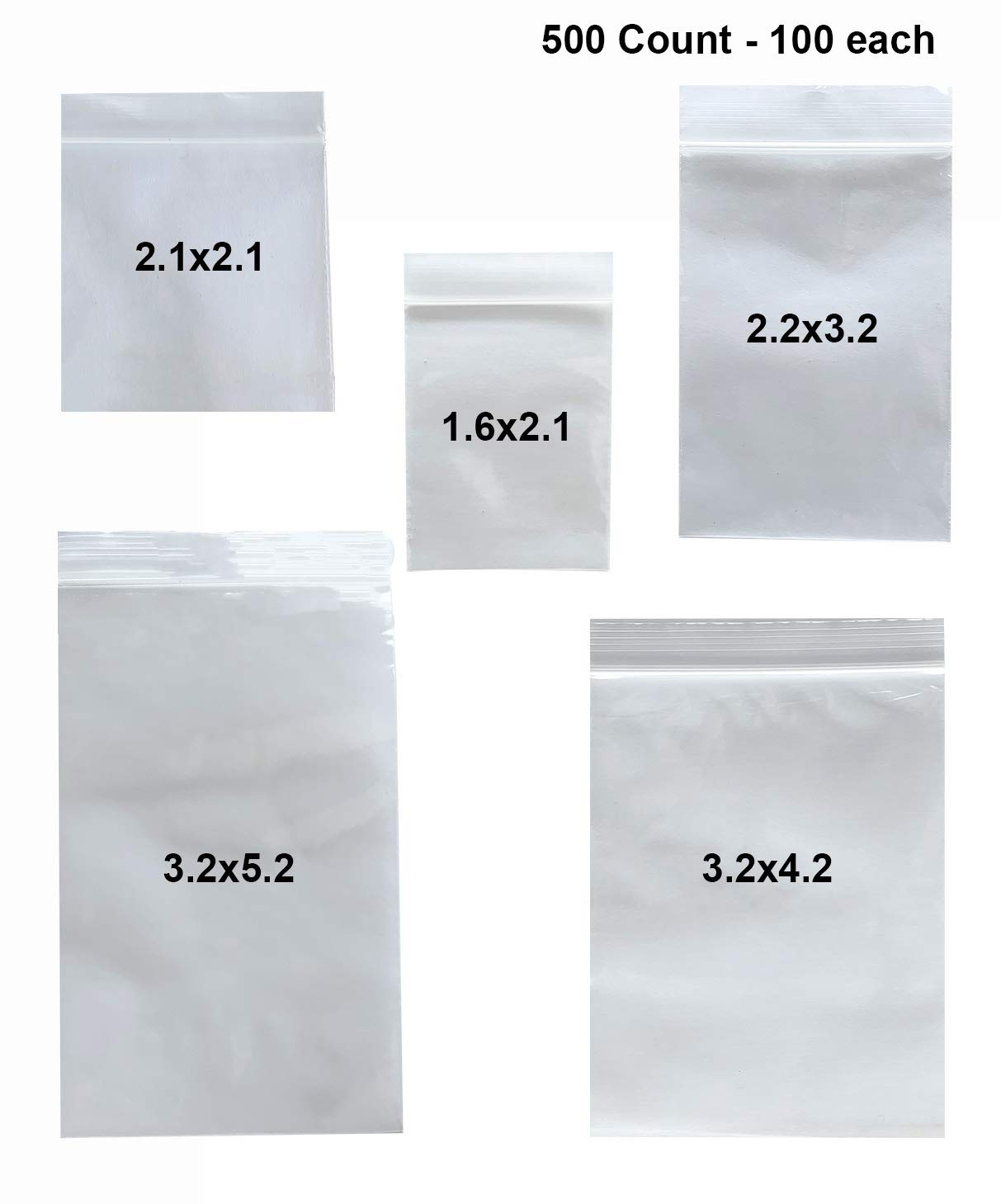 500 Multi-Pack 2 Mil Resealable Zipper Small Size Plastic Storage Poly Bags