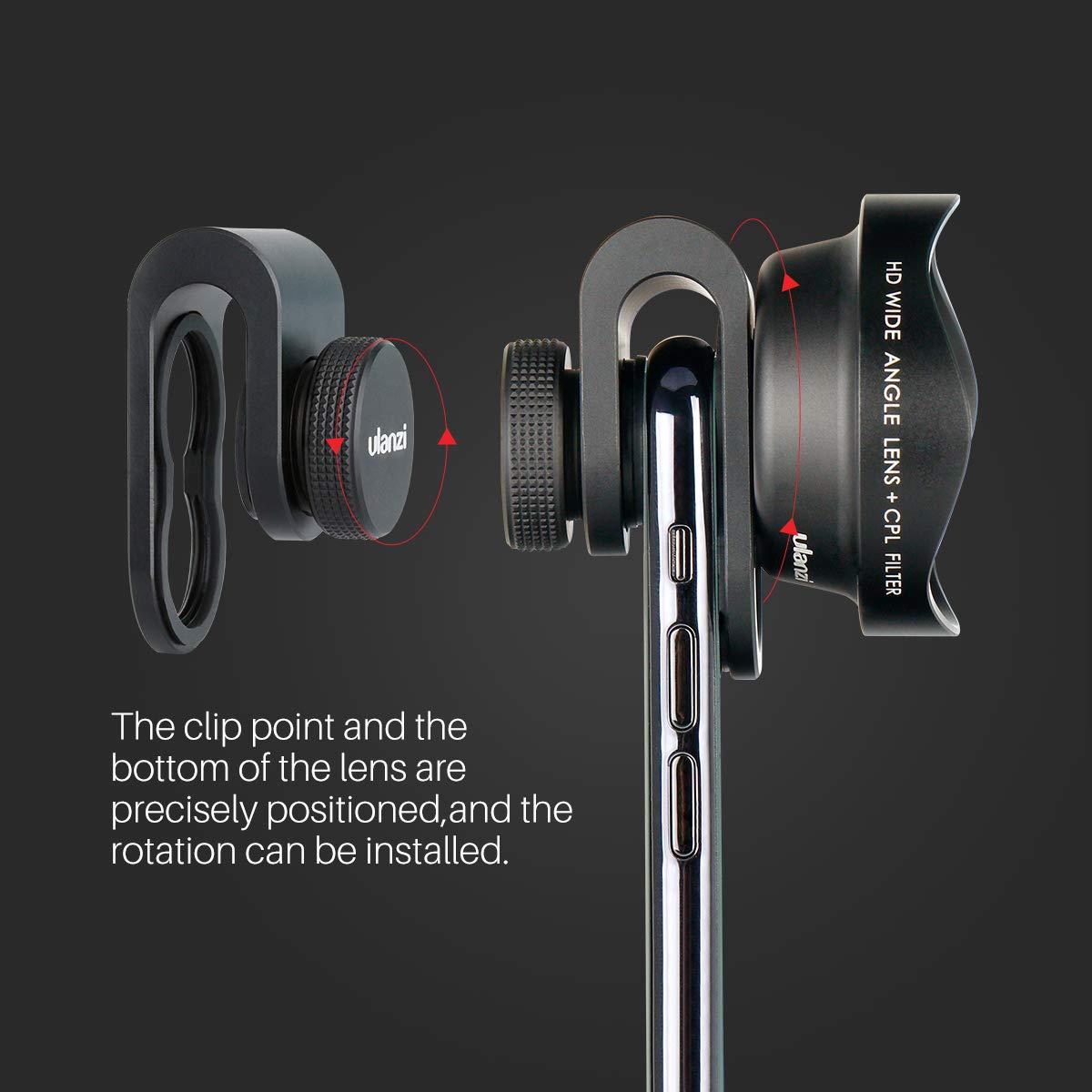 Clip de 17 mm ULANZI Lente de Ojo de pez Lente de c/ámara para tel/éfono de 238 /° Universal para iPhone 11 Pro MAX X XR XS MAX 8 7 6S Plus Samsung Galaxy S10 S9