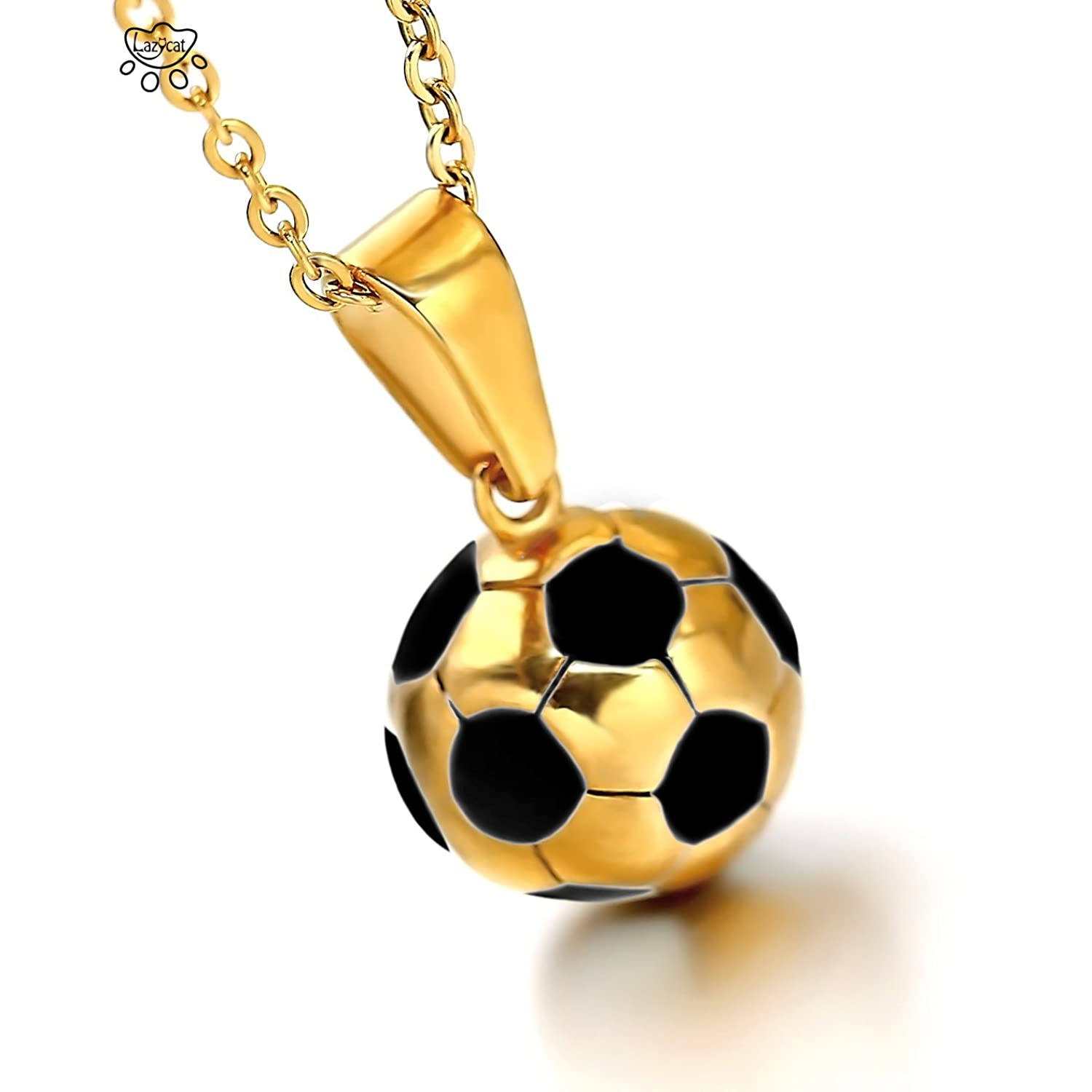 com dp white necklace sterling jewelry silver ball amazon football black soccer inches pendant