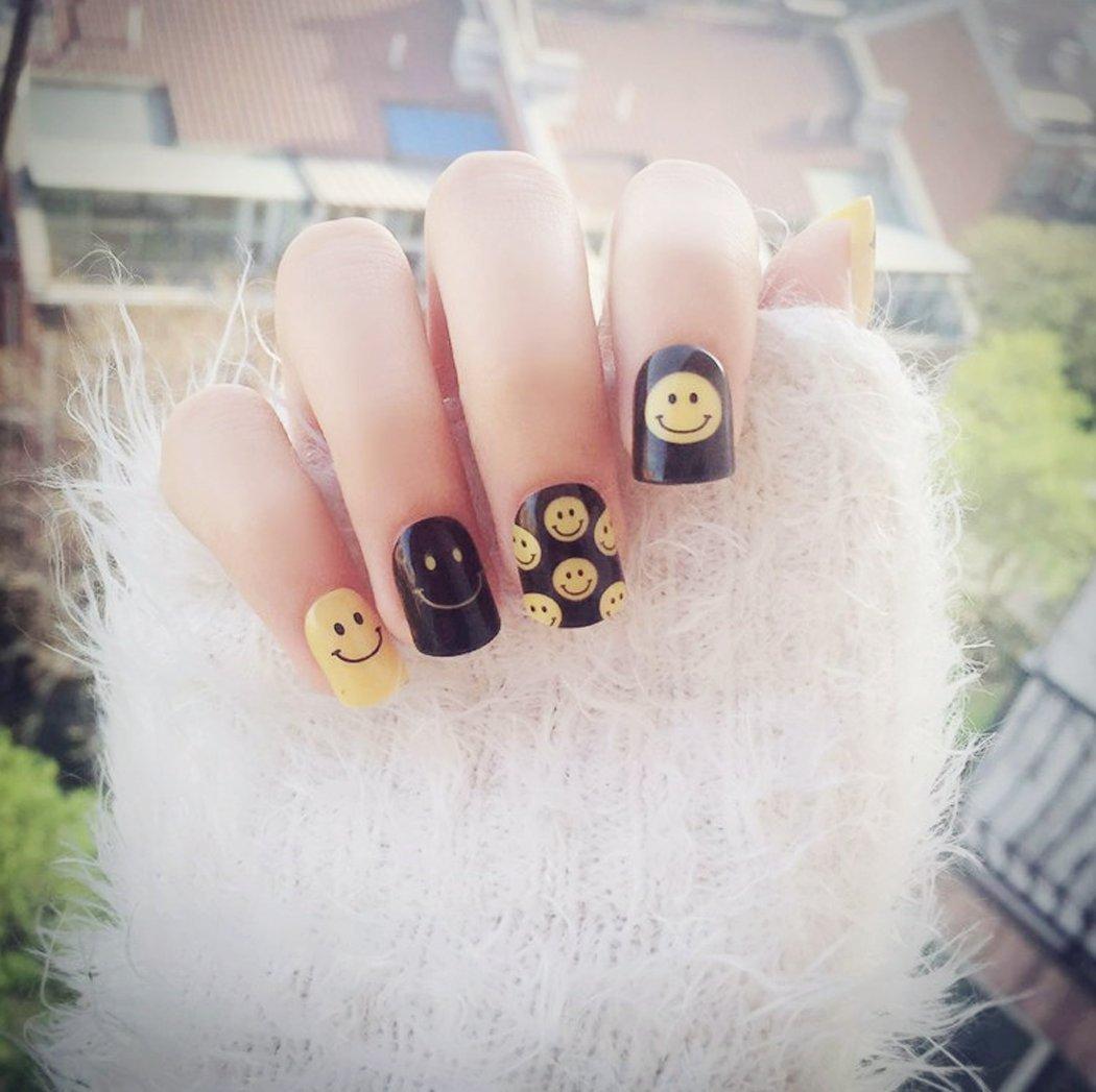 jovono plena de las mujeres falsas uñas consejos sonrisa cara patrón uñas postizas para fiesta de Halloween: Amazon.es: Belleza