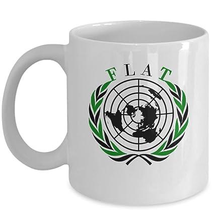 Amazon.com: Flat earth coffee mug   FLAT Earth map zetetic symbol