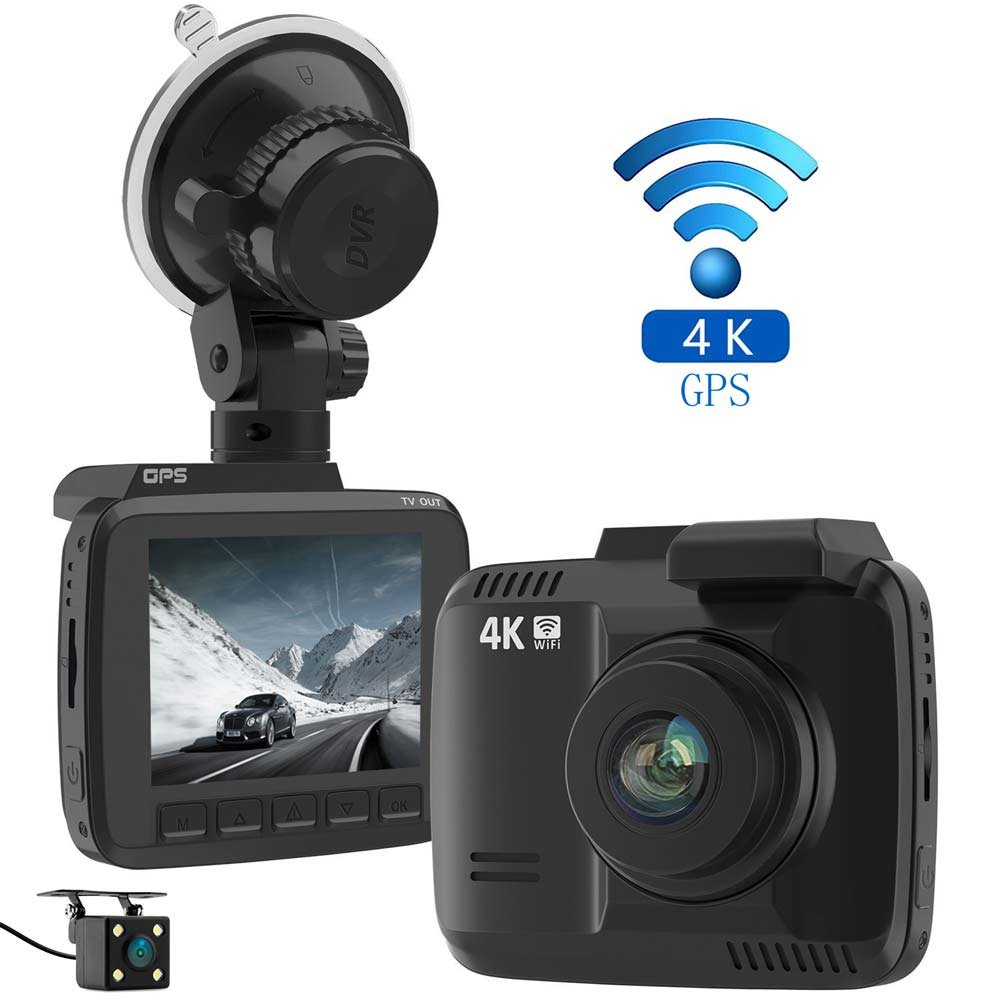 Laydran Dual Lens 4K Dash Cam Car DVR Dashboard Camera Recorder with Rear camera, Built-In WiFi & GPS, G-Sensor, 2.4'' LCD, 150 Degree Wide-Angle Lens, Parking Monitoring,Loop Recording