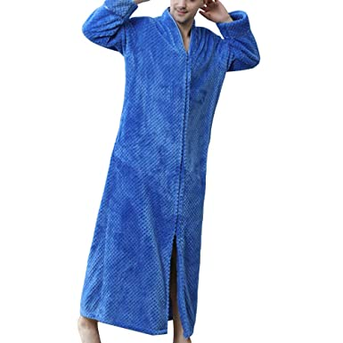 Men s Zip Up Front Flannel Bathrobe Waffle Plush Fleece Long Sleeve Loose  Robes 68fc44229