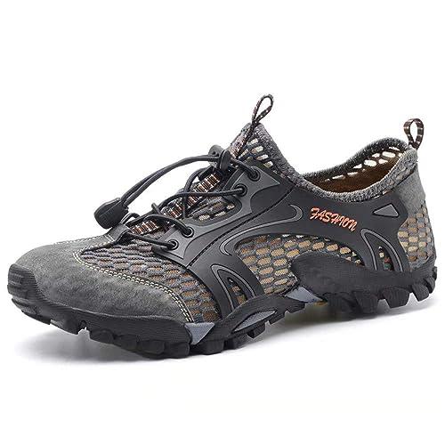 Zapatillas Trekking Hombres Senderismo Running Deportivas Antideslizante Ligero Comodos Negro Gris Marrón Verde Tamaño 37-
