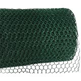 MOCCO 39.5'' x 20' Galvanized Hexagonal Fence Poultry Net Netting | 1'' Green Garden Protect Stainless Steel Roll | Reusable Protection for Chickens, Ducks, Geese, Rabbits, Garden