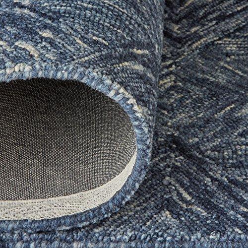 Rivet Motion Patterned Wool Area Rug, 8' x 10'6, Denim Blue by Rivet (Image #4)
