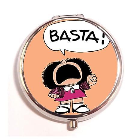 Amazon.com: Mafalda Basta Custom Caja Píldora redonda acero ...