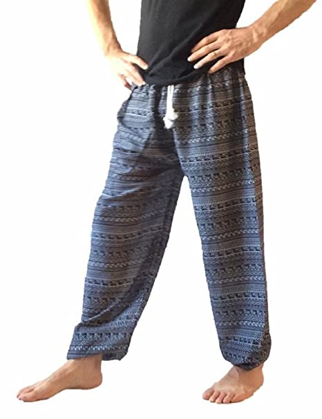 Amazon.com: Pantalones Harem estampados holgados para hombre ...
