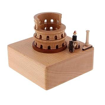 IPOTCH Caja de Música de Madera Diseño de Montaña Rusa/ Torre ...