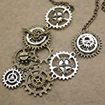 RechicGu Style A Watch Clock Clockwork Hand Gear Cog Steampunk Necklace Vintage Gold and Silver 8