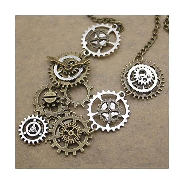 RechicGu Style A Watch Clock Clockwork Hand Gear Cog Steampunk Necklace Vintage Gold and Silver 5
