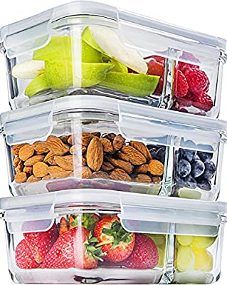 [3-Pack] Glass Meal Prep Containers Glass 2 Compartment - Glass Food Storage Containers - Glass Storage Containers with Lids - Divided Glass Lunch Containers Food Container - Glass Food Containers