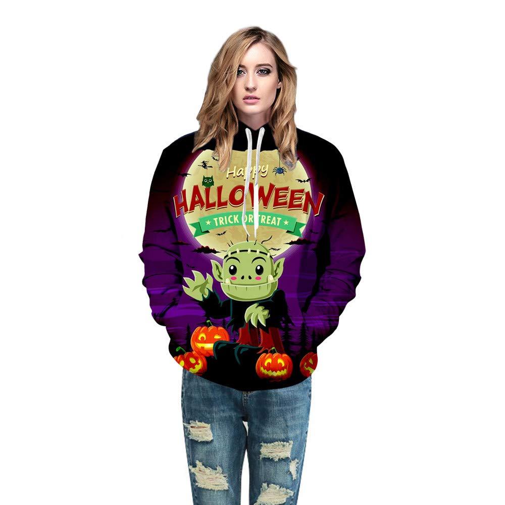 Photno Womens Hooded Sweatshirts Pullover Hoodies Unisex Halloween 3D Print Tops Shirt Blouse Outwear 2018