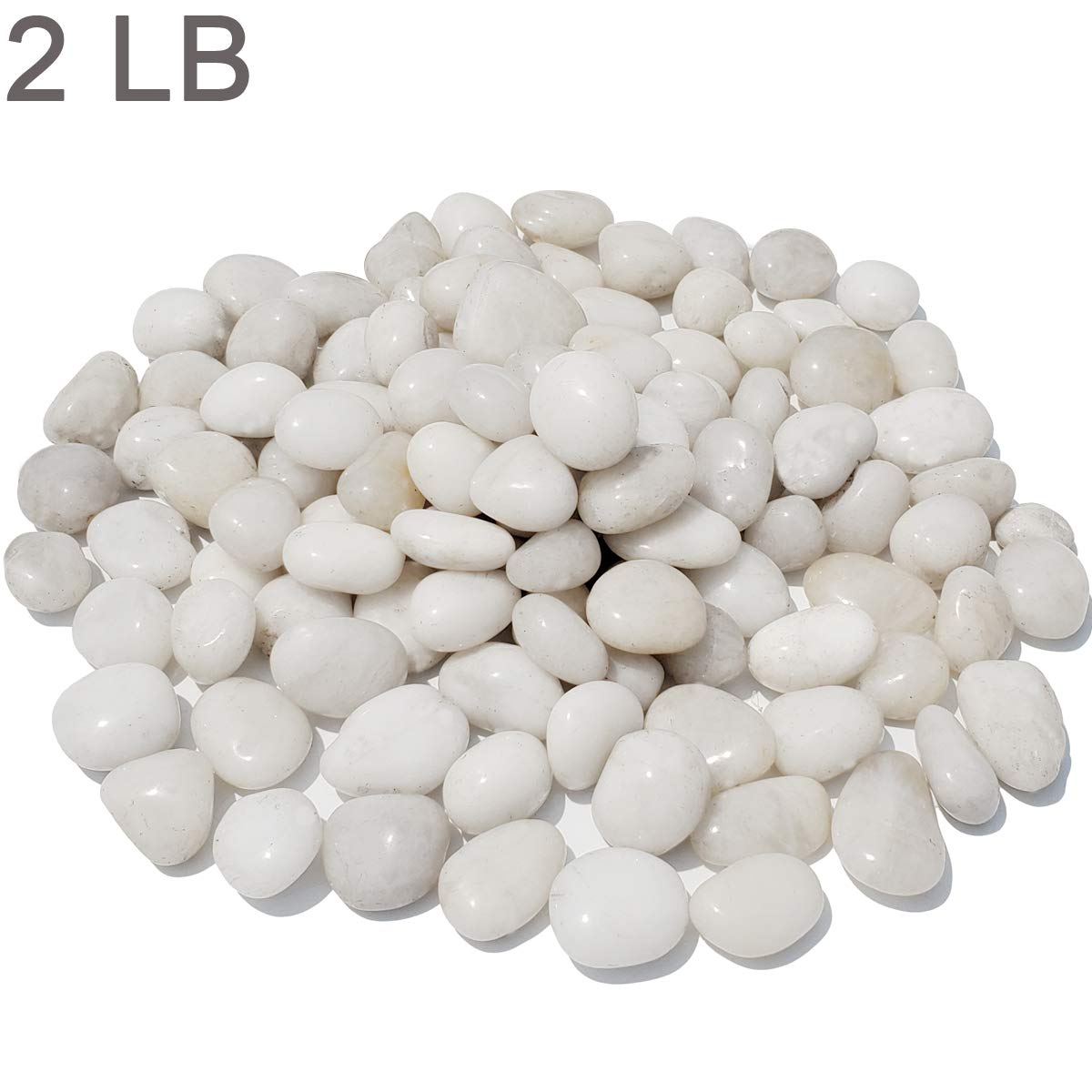 """M--jump 2 Pounds 1"""" - 2"""" Gravel Size Natural Decorative Stones Polished White Pebbles Use in Glassware, Like Vases, Aquariums and Terrariums to Enhance The Appearance"""