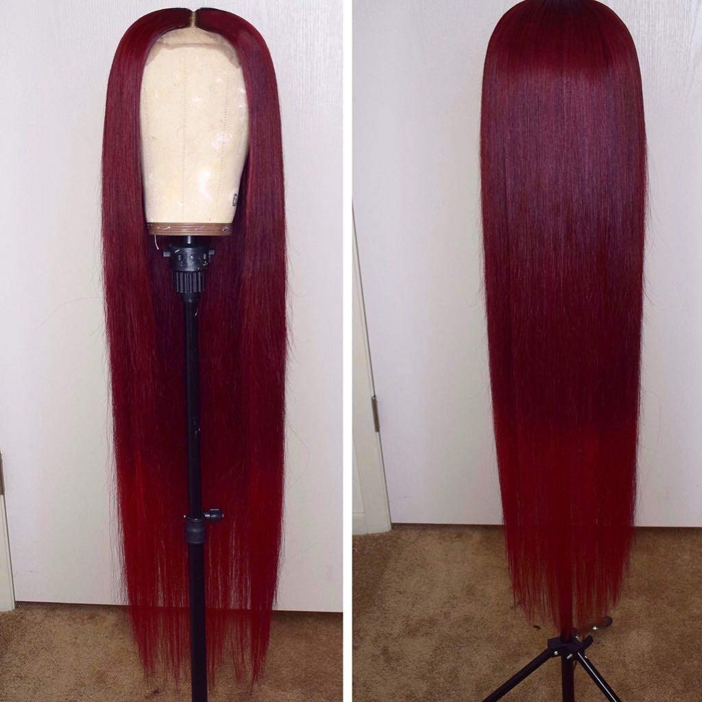 13x6 Burgundy Silk Straight Human Hair Wigs Glueless Lace Front Hair 150% Density Pre Plucked Hair for Black Women by Estelle Wig (18inch, 13x6 lace front wig) by Estelle Wig