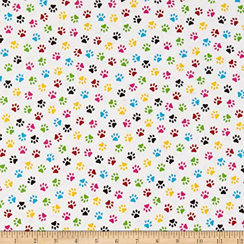 Windham Fabrics Somebody To Love Whistler Paw Print Multi Fabric Fabric by the Yard