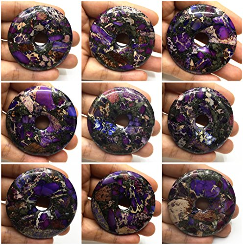 Donut Pendant 50mm Beautiful Gemstone Pyrite Purple Sea Sediment Jasper Bead (Mix wholesale 5pcs)