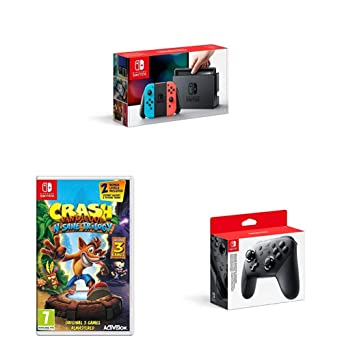 Nintendo Switch Neon with Crash Bandicoot N  Sane Trilogy +