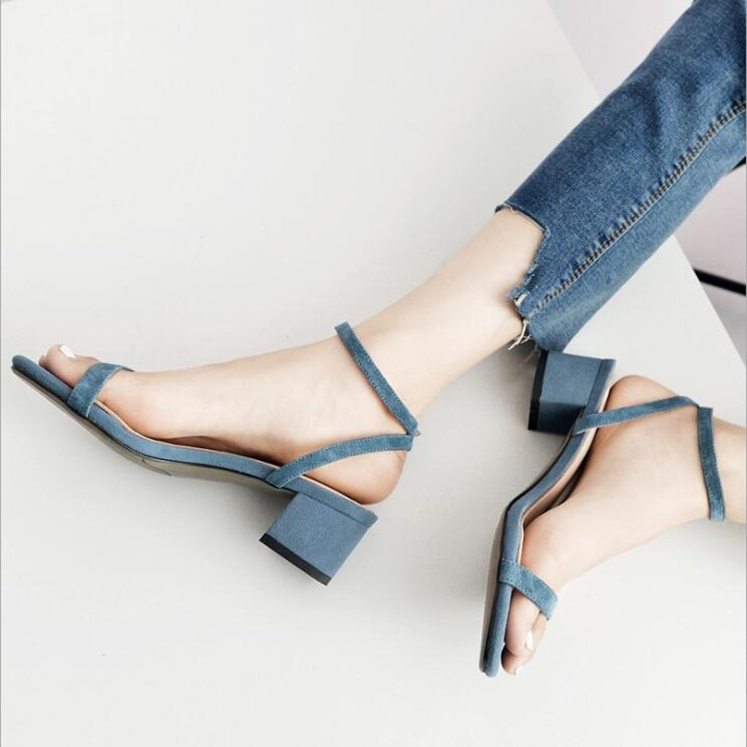 ZZZJR ZZZJR ZZZJR Frauen Sommer Cool Button Sandalen Offen-Toed Frauen Einfache Knöchelriemen Medium Thick Schuhe Mary Jane Sandalen B07D6G5PBR Tanzschuhe Elegante Form ae1d44