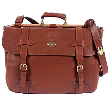 Amazon.com | Brown Leather Book Bag Laptop Briefcase Messenger Bag ...