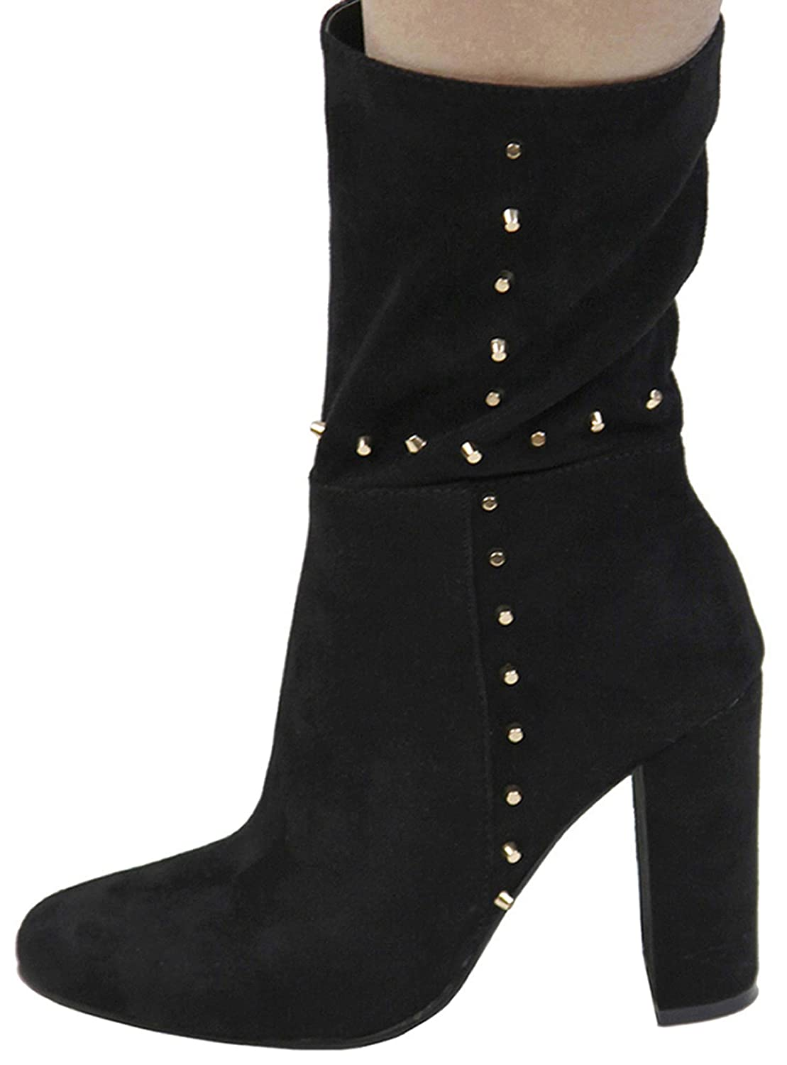 Bella Marie Womens Closed Almond Toe Studded Chunky Wrapped Heel Mid-Calf Boot