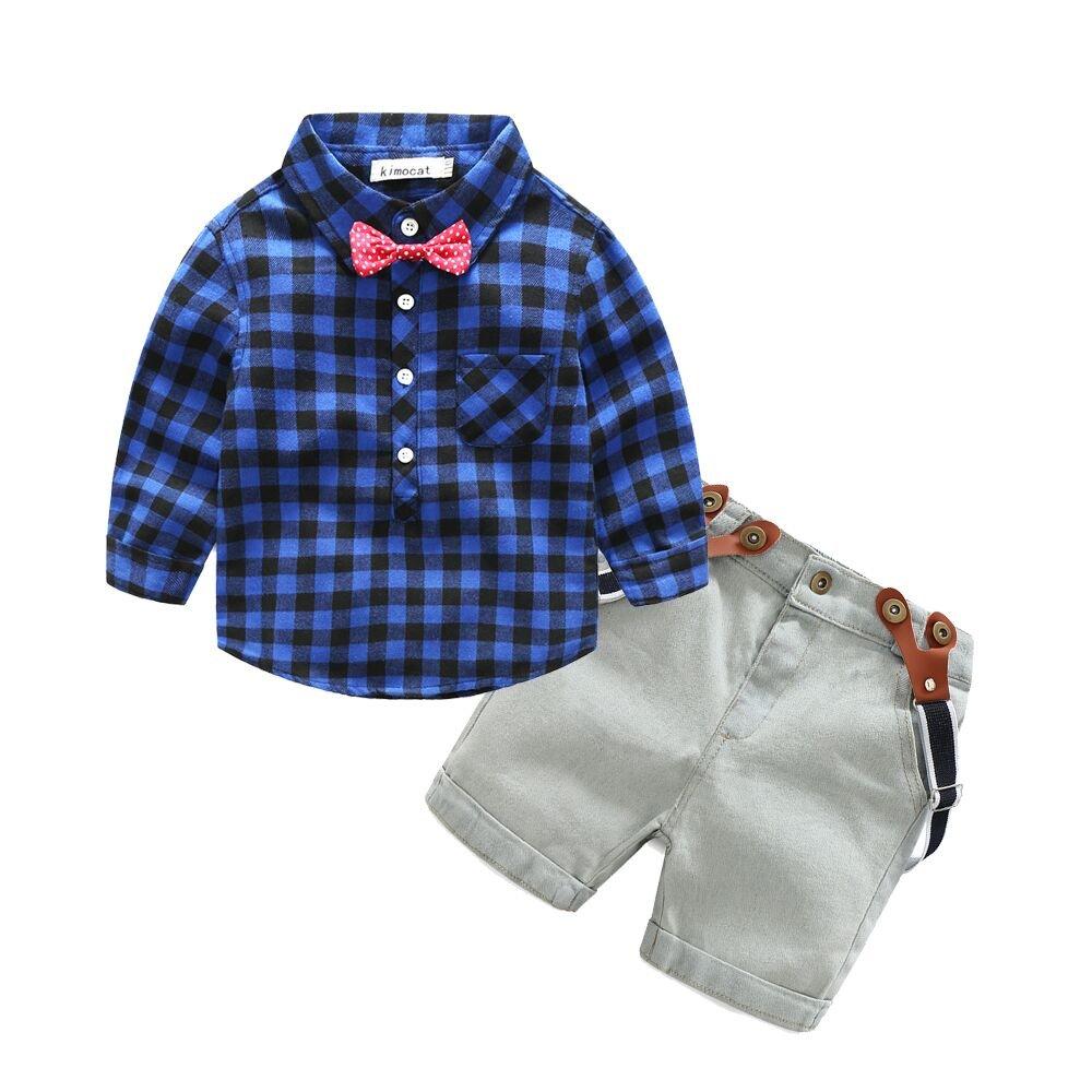 Kimocat Boys 2Pcs Long Sleeve Plaid Casual Shirt Short Jeans Set With Suspender Straps