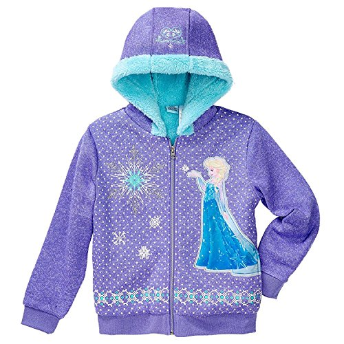 Princess Disney Little Girls Zip-Up Fleece Jacket with Hood (Purple, 3T)