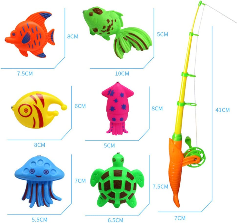 Aoile Summer Magnetic Fishing Rob Net Cartoon Fishes Beach Bath Toy for Baby 15pcs