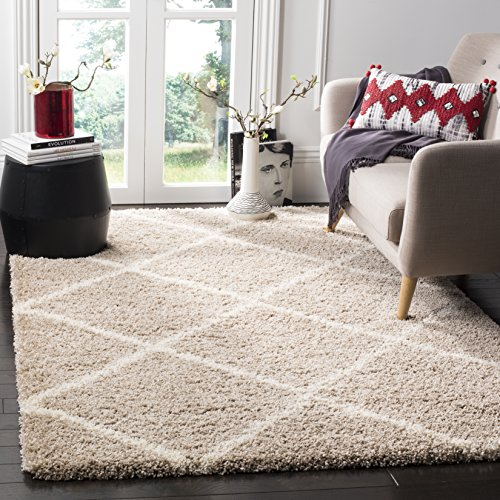 Safavieh Hudson Shag Collection SGH281S Beige and Ivory Moroccan Diamond Trellis Area Rug (5'1