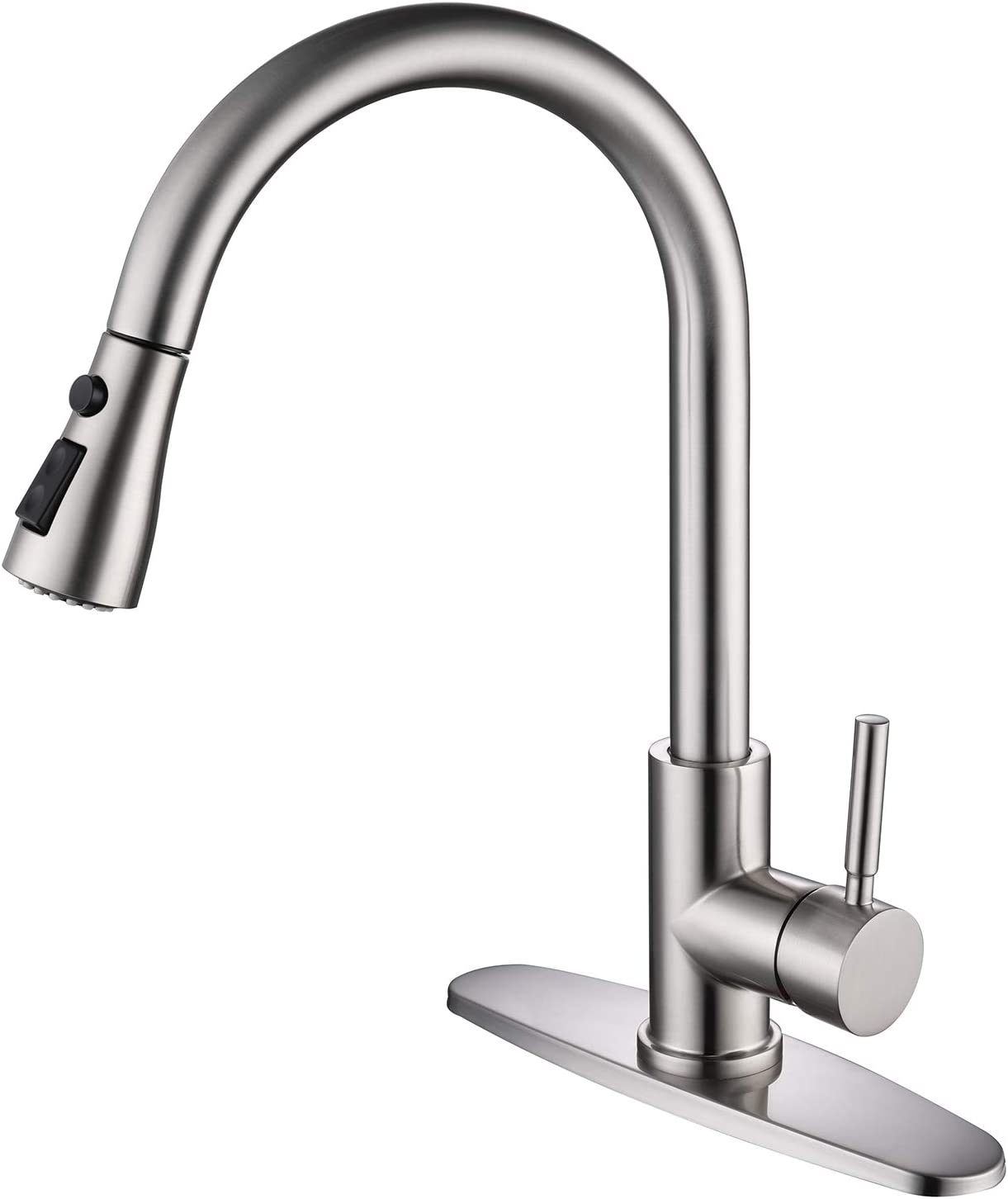 MOWA M13028 Brushed Nickel One-Handle High Arc Pulldown Kitchen Faucet, Single Lever Kitchen Sink Faucets Without Deck Plate