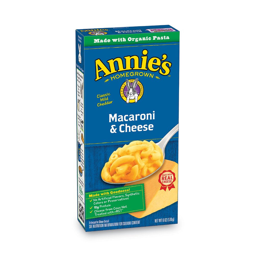Annie's Macaroni and Cheese, Pasta & Classic Mild Cheddar Mac and Cheese, 6 oz Box