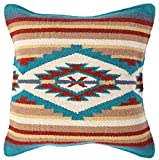El Paso Designs Throw Pillow Covers 18 X 18- Hand Woven Wool in Southwest, Mexican, and Native American Styles- Hand Crafted Western Decorative Pillow Cases in Wool. (Beige Pyramid)