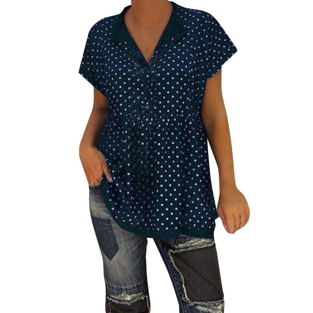 2019 New Womens Spot Printing Blouse, Casual V-Neck Short Sleeve Dot-Intarsia Printing Shirts Soild Summers Top Vest Blouse (Navy, M) by Aurorax Dress (Image #1)