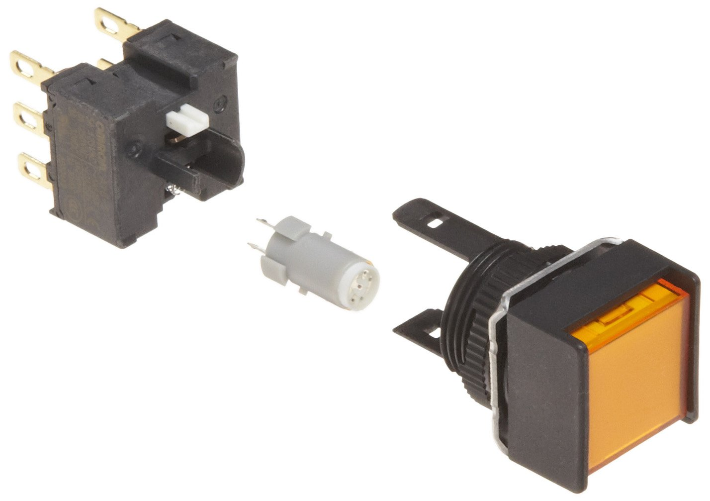 Omron A165L-AYM-24D-2 Two Way Guard Type Pushbutton and Switch, Solder Terminal, IP65 Oil-Resistant, 16mm Mounting Aperture, LED Lighted, Momentary Operation, Square, Yellow, 24 VDC Rated Voltage, Double Pole Double Throw Contacts