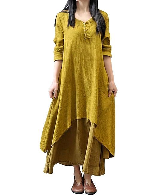 Minetom Mujer Retro Largo Vestido Mangas Largas Boho Casual Maxi Vestido Amarillo 34