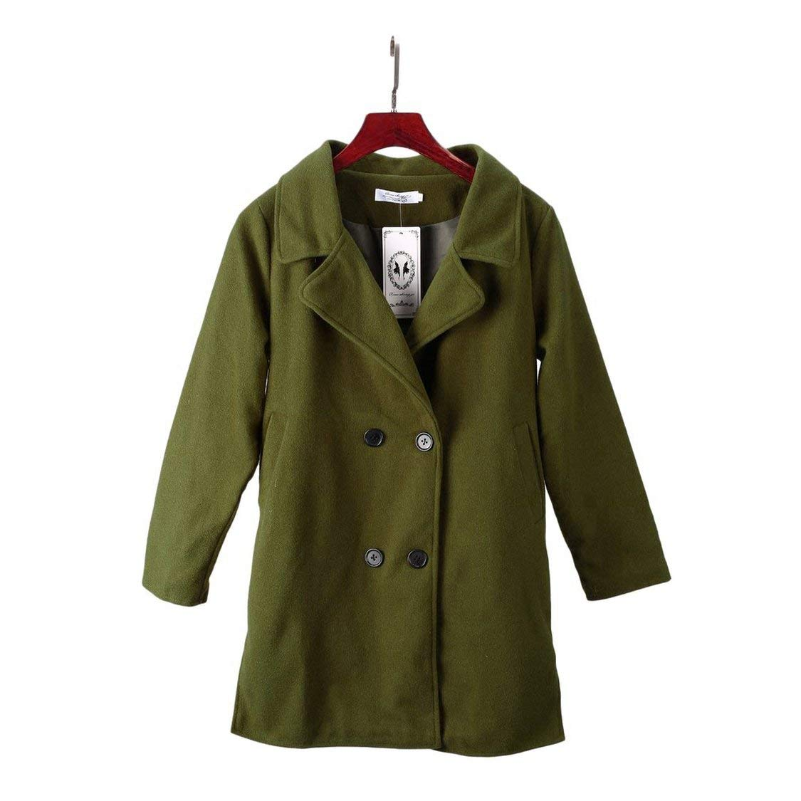 Female Double-breasted Overcoat Long Sleeve Turn-down Collar Solid Color Coat Outwear Korean Style Long Slim-fit - Army Green XL