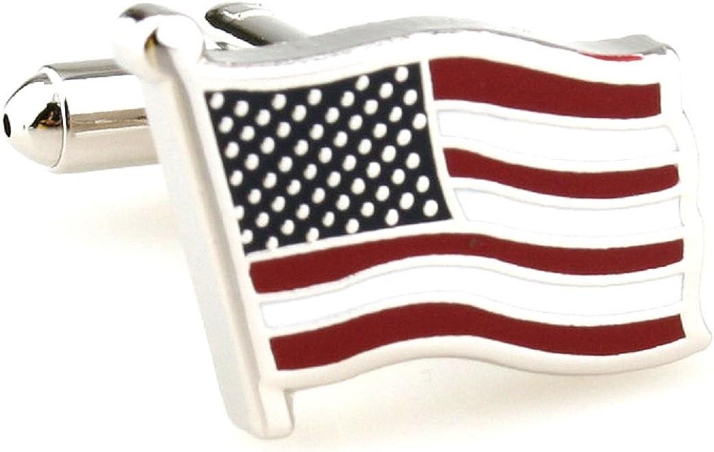 MRCUFF Flag USA American Waving Pair Cufflinks in a Presentation Gift Box & Polishing Cloth