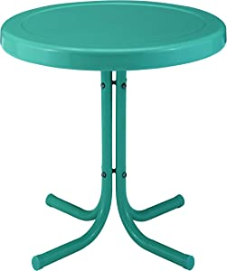 Crosley Furniture CO1011A-TU Griffith Retro Metal Outdoor Side Table, Tourquoise