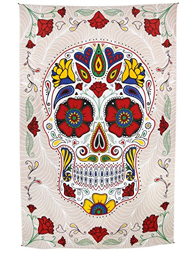 Sunshine Joy 3D Sugar Skull Tapestry Day Of The Dead Wall Art Beach Sheet Huge 60x90 Inches - Amazing 3D Effects