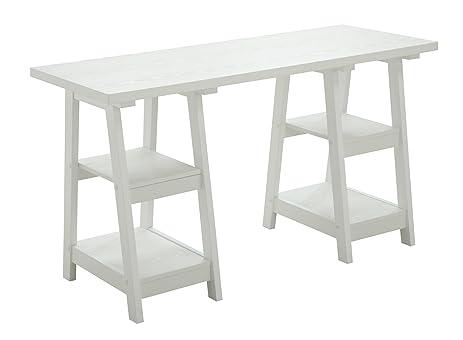 Convenience Concepts 090207W Double Trestle Wooden Desk, White